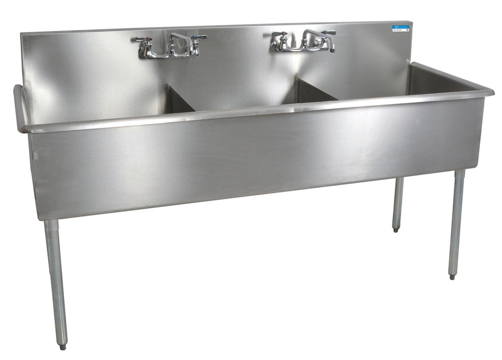 3 COMPARTMENT BUDGET SINK 24X24X12D BOWLS T-430 SS